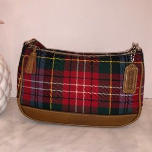 Coach Tartan Plaid Baguette Mini Satchel Wristlet.